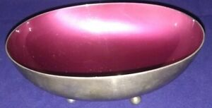 Antique Reed And Barton Silverplate Red Enamel Footed Candy Dish 143
