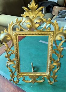 Cast Iron Gold Picture Frame Numbered 118 Vintage With Scrolls