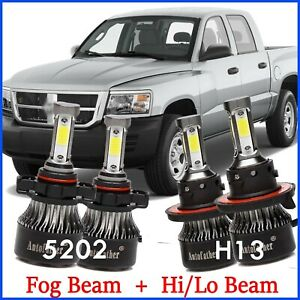 4pcs H13 5202 Fog Light Hi lo Led Headlight 2000w For Dodge Dakota 2005 2009