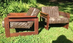 Rosewood Vintage Leather Lounge Chairs Percival Lafer Brazil Mid Century Modern