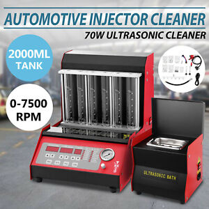 6 cylinder Ultrasonic Fuel Injector Cleaner Tester English Panel W cleaning Tank