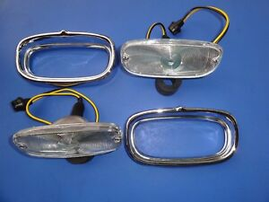 1958 1959 Chevrolet Truck Parking Light Assembly clear Lens complete pair