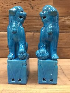 Pair Vintage Chinese Turquoise Porcelain Foo Dogs Statues Temple Guarding Lion
