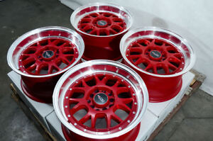 15x8 Wheels Fit Honda Accord Civic Impreza Camry Celica Corolla Red Rims 5 Lugs