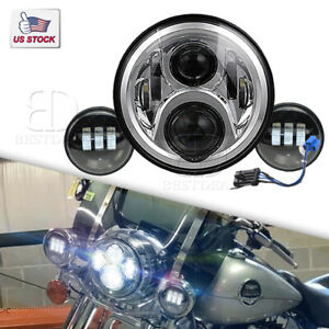 7inch Motorcycle Headlamp Led Projector Headlight Passing Lights For Harley