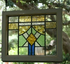 Stained Glass Window Leaded Old Antique From England