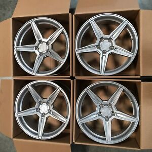 Used 19x10 19x11 Concave F5 Fit Mustang 5x114 3 73 1 35 50 Silver Wheels Set 4