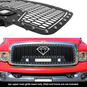 Fits 2002 2005 Dodge Ram 1500 2500 3500 Upper Stainless Black Mesh Led Grille