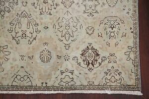 Antique Muted Bakhtiari Distressed Oriental Area Rug Worn Pile Hand Knotted 7x10