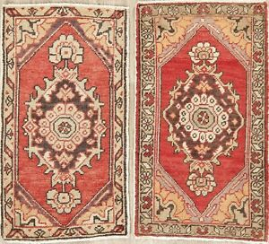 Pair Of Vintage Oushak Turkish Oriental Area Rug Hand Knotted Kitchen Carpet 2x3