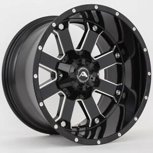 20x12 Ameican Off Road A108 6x5 5 6x139 7 44 Black Milled Wheels Rims Set 4