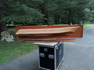 Huge Vintage Presentation Ship Model Yacht Half Hull Hand Crafted Nautical