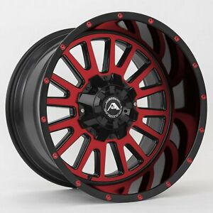 20x10 Ameican Off Road A105 6x5 5 6x139 7 24 Black Machined Red Wheels Set 4