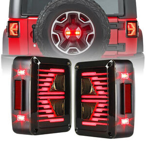 Rear E Type Tail Lights Led With Turn Signal For 2007 2018 Jeep Wrangler Jk Jku