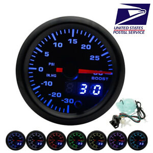 52mm Car Led Turbo Boost Gauge Psi Meter Analog Digital Dual Display W Sensor