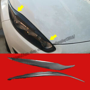 Real Carbon Fiber Eyebrows Eyelid Headlight Cover 2pcs For Ford Fiesta 2013 2016