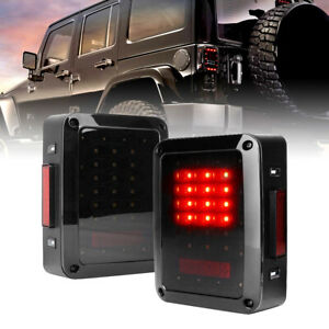 Smoked Cover Led Tail Lights For 2007 2018 Jeep Wrangler Jk Jku Unlimited