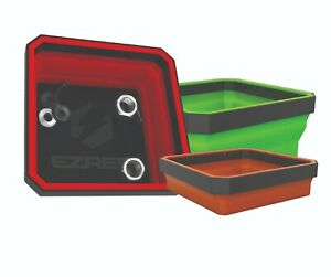 Ez Red Eztray clr 3pc Collapsible Magnetic Parts Trays red Green Orange