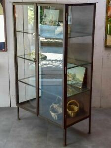 Vintage Industrial Glass Book Case Shelving Vitrine