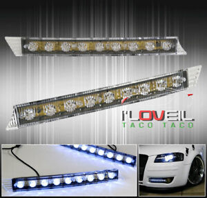 Universal 12 9led Bulb Fog Day Night Time Running Bumper Lights Lamps Drl Strip