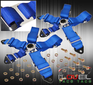 For Benz 3 5 Point Harness Cam Lock Seat Belt Support Strap Pair Euro Dtm Blue