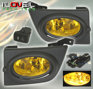 2006 2008 Honda Civic 4dr Driving Bumper Front Amber Yellow Rear Fog Light Lamp
