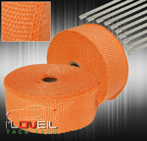 10m Air Intake Induction Thermal Cooling Heat Wrap Protection Zip Ties Orange