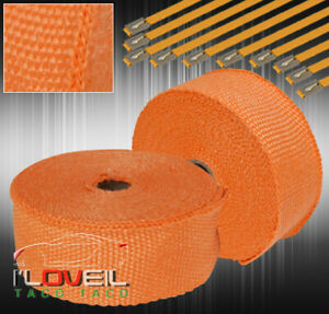 360 30ft High Temp Down Pipe Exhaust Turbo Heat Wrap Muffler Header Jdm Orange