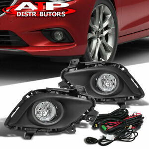 Chrome Driving Bumper Fog Lights Lamps Pair wiring Switch For 2013 2015 Mazda 6