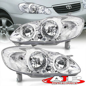 Chrome Clear Jdm Head Lights Lamps Assembly Lh Rh For 2003 2008 Toyota Corolla