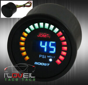 2 Digital Blue Led Turbo Boost Volt 52mm Race Car Gauge Meter Smoked For Toyota