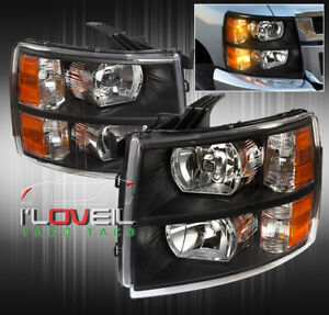 For 07 13 Silverado 1500 Front Driving Luxury Head Lights Lamps Unit Pairs Black