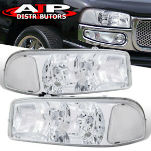 Chrome Clear Replacement Headlights Lamps Pair For 2000 2006 Gmc Sierra Yukon Xl
