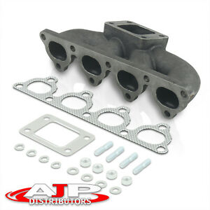 For Civic Crx Del Sol T3 T4 Turbo Centered 38mm Flange Cast Iron Header Manifold