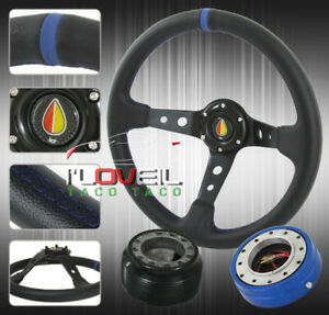 350mm Detachable Steering Wheel Combo Thin Quick Release Hub Adapter Horn