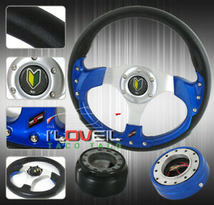 320mm Steering Wheel 1 5 Slim Blue Quick Release Hub Adapter Horn Button