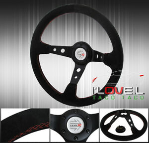 350mm Black Suede Leather Red Stitching Steering Wheel 6 Bolts Holes Replacement