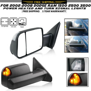 For 2002 2008 Dodge Ram 1500 2500 Signal Light Power Heated Tow Mirrors Black