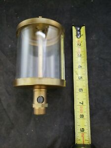 Vtg Brass Drip Oiler With Glass Unknown New Never Used Large Steampunk c1