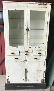 Vintage White Metal Dental Medical Cabinet With Glass Doors With Lock And Light