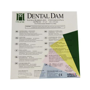 Coltene Whaledent H04243 Hygenic Rubber Dental Dams 6 X 6 Medium Light 360 bx