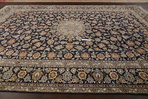 Large Vintage Navy Blue Floral Oriental Area Rug Hand Knotted Wool Carpet 10x14