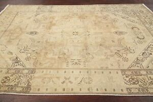 Vintage Faded Color Geometric Muted Oriental Area Rug Distressed Hand Made 6x10