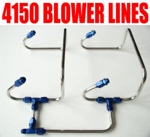 New Blue One Inlet 4150 Blower Lines Polished Stainless Steel Demon 4150 Carbs