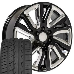 Cp 22 Wheels Tires Fit Chevy Gm Cadillac High Country Black W chrome Imove
