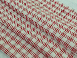 Antique Vintage French Red White Plaid Linen Fabric Upholstery Decor