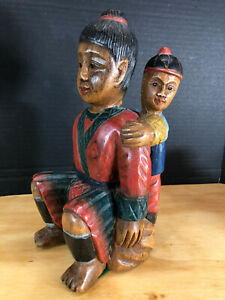 Vtg Thailand Hand Carved Wood Father Son Figure Man Boy 10 5 Tall