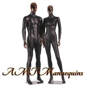 Female male Full Body High End Mannequins rose Golden Head Hands Black Couple