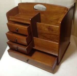 Vintage Wood Desktop Mail Letter Bill Organizer 5 Compartments 4drawer