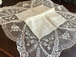 Antique Linen Wide Net Floral Lace White Bridal 12 Hanky Hankie Vintage Romance